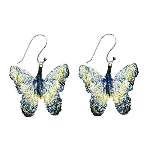 Pendientes mariposas azules de hojas naturales bañadas en Plata de Ley