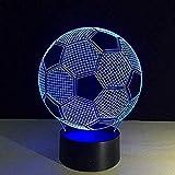 Pieza que cambia de color futbolín 3D ilusión luz nocturna control remoto interruptor táctil lámpara de mesa