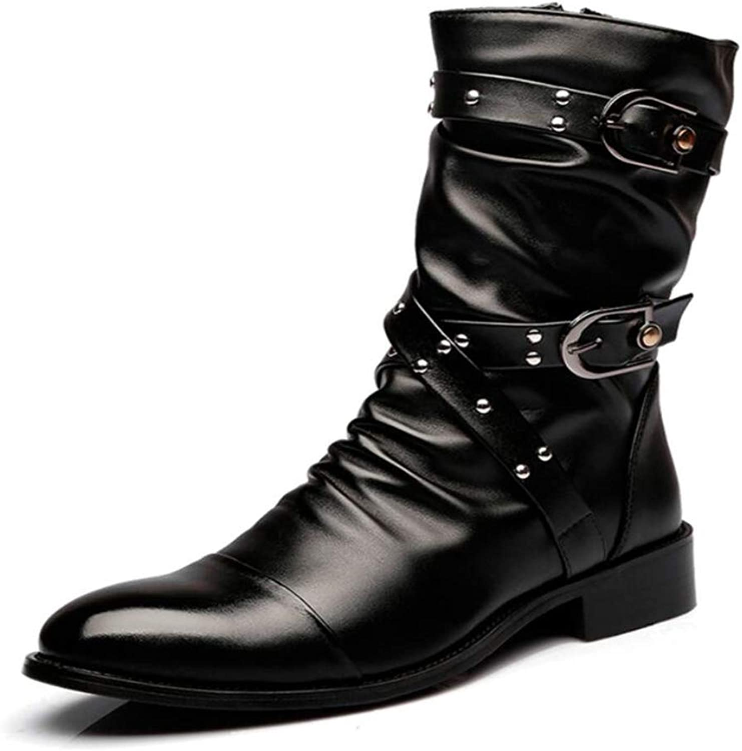 Men's Boots Motorcycle Boots Autumn and Winter Fashion High Boots Martin Boots Rivet Boots Cotton shoes Men's Casual Leather Boots
