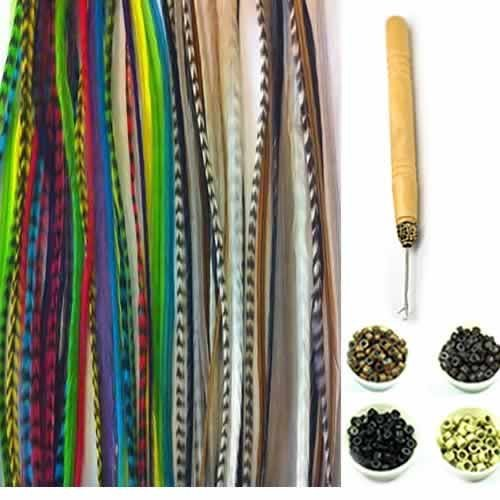 New 21 Pc Kit' Natural Forest Mix 7'-11' Feather Hair Extensions' 10 Long Genuine Single Feathers + 10 Micro Beads & 1 Hook Tool (Colors Will Be Chosen Randomly)