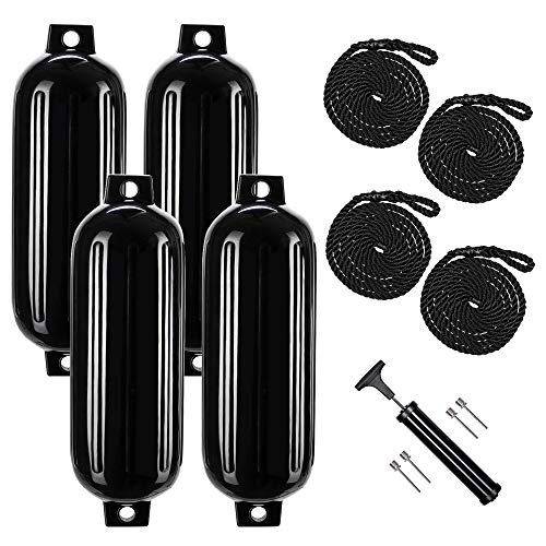 VINGLI 4-Pack Ribbed Boat Fender, 8.5 x 27 inch, with Ropes & Inflator, for 20-30 ft. Boat, Small Sailboat, Ski Boat etc.… (Black, 8.5 x 27 in.)