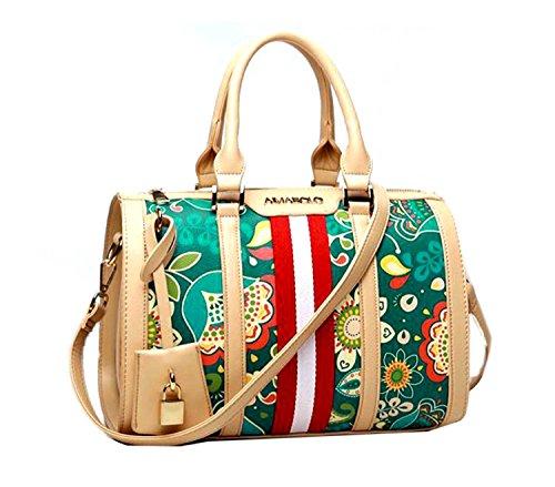 Di Grazia Women's Italian Box Bowler Handbag (Beige & Green, Beige-Flower-Print-Box-Handbag)
