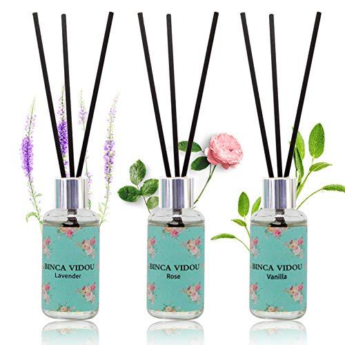 Reed Diffuser Set of 3, binca vidou Lavender, Rose, Vanilla Fragrance Reed...