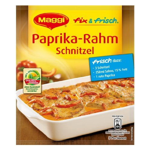 MAGGI fix & fresh creamy schnitzel with bellpeppers (Paprika-Rahm Schnitzel) (Pack of 4)