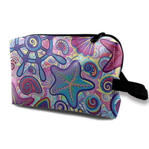 XCNGG Bolsa de almacenamiento de maquillaje de viaje, bolso de aseo portátil, pequeña bolsa organizadora de cosméticos para mujeres y hombres, bonito patrón náutico marino