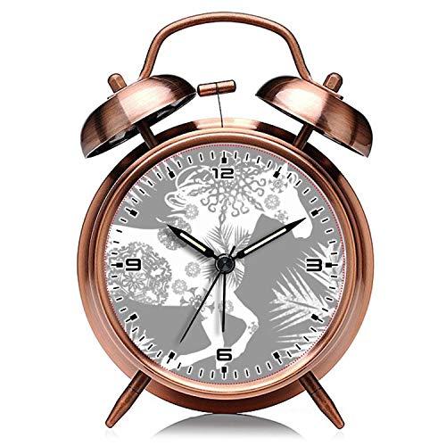 girlsight Weihnachtskupfer Retro Clock Silent mit Nachtlicht Double Bell Wecker 409.Graues und weißes Schneeflocken-Weihnachtspferd Wecker