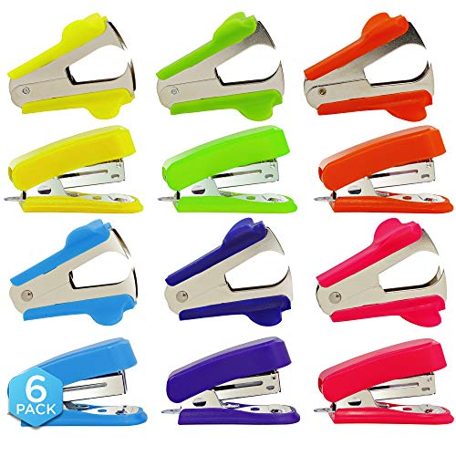 Desktop Mini Staplers, with Staple Remover, Heavy Duty, Non Slip, Ergonomic Jam Free, Hand Held Stapler Set, for Professional Home and Office - by Emraw (Pack of 6)