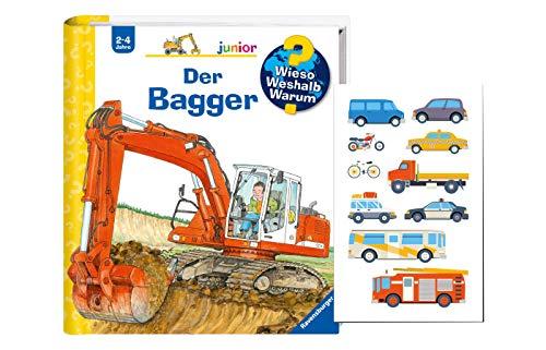 Buchspielbox Wieso? Weshalb? Warum? Junior. Der Bagger + Fahrzeugsticker, Kinderbuch ab 2 Jahren