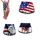 FFENYAN Womens July 4th American Flag Shorts Patriotic USA Flag Letters Print Casual Pajama Pants Trousers Lounges