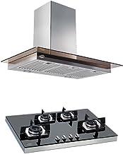 Glen 60 cm 1250 m3/hr Glass Wall Mounted Kitchen Chimney Toch Controls + Glen 4 Burner Hob with SS frame (6062 TS + 1074 S...