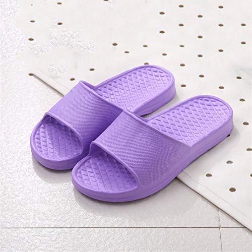 TCXT Unisex Hauspantoffeln Sommer Indoor Boden rutschfeste Hausschuhe Paar Familie Frauen und Männer Hotel Badezimmer Badewanne Sandale Hausschuhe (Color : Purple for Women, Shoe Size : 45)