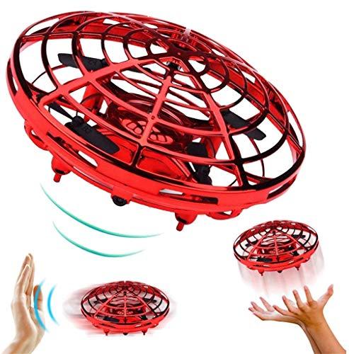 QKa Accionamiento Manual Drone - 5 Mágicas Sensores Manos Libres Mini Aviones No Tripulados para Niños Juguetes Voladores Regalos para Niños Y Niñas, Flying Fidget Spinner,Rojo