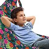 ABAKUHAUS Hibiskus Unicorn Toy Bag Lounger Stuhl, Tropic Zweige und Vögel, Hochleistungskuscheltieraufbewahrung mit Griff, Mehrfarben