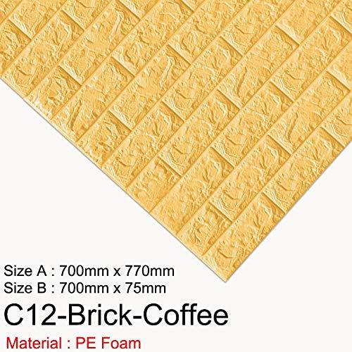 SMXGF 3D Wall Paper Brick Marble Waterproof Wall paper 3D Decor for slapen Kinderen Woonkamer Wallpaper DIY zelfklevend papier (Color : C12 Brick Coffee, Dimensions : LXH 70CM X 77CM)