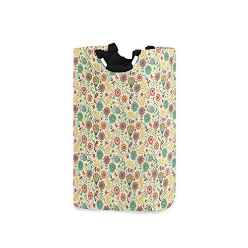 LOSNINA Wäschesammler Wäschekorb Faltbarer Aufbewahrungskorb,Moderner Blumenstrauß-Botanik-Druck,Wäschesack - Wäschekörbe - Laundry Baskets