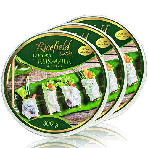 Ricefield - 3er Pack Tapioka Reispapier aus Vietnam für asiatische Sommerrollen und Frühlingsrollen in 300 g Packung - Premium Rice Paper 22 cm Durchmesser (extra dünn)