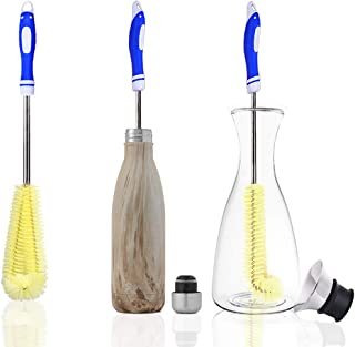 ArtiGifts 16½-in Extra Long Handled Water Bottle Brush Cleaner with L-shape Cleaning Head, Easy for Cleaning Bottles, Tumblers, Pitchers, Coffee Carafes, Flower Vases and Electric Kettles, Blue Grip