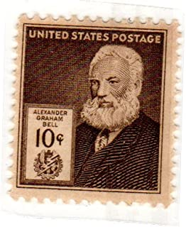 Postage Stamps United States. One Single 10 Cent Dark Brown, Famous Americans Issue, Inventors, Alexander Graham Bell, Stamp Dated 1940, Scott #893.