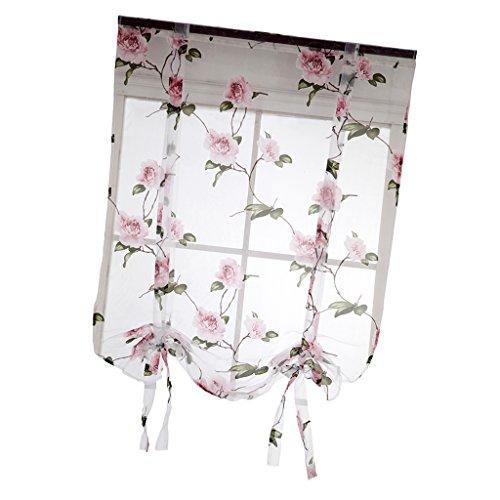 Sharplace Landhaus Kurze Tüll Vorhänge mit Blumenmuster - # 1 Rosa 80x100cm