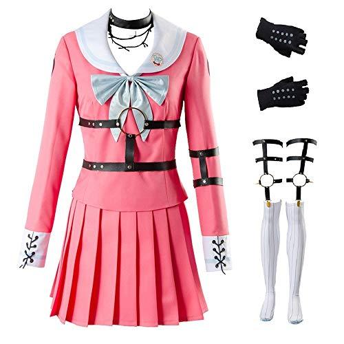 UU-Style Danganronpa Cosplay Costume V3 Killing Harmony MIU Iruma High School Uniform Suit Outfit Pink