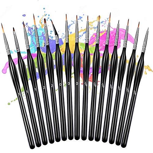 Pennelli per Pittura 15 Pezzi, Pennelli Pittura, per dipingere ad Olio Miniatura Pittura Oli Acquerelli e Nail Art Pittura Arte