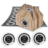 24 kleine Mini-Geschenkkarton Faltschachtel braun natur 9 x 12 x 6 cm ohne Griff + 24 runde...