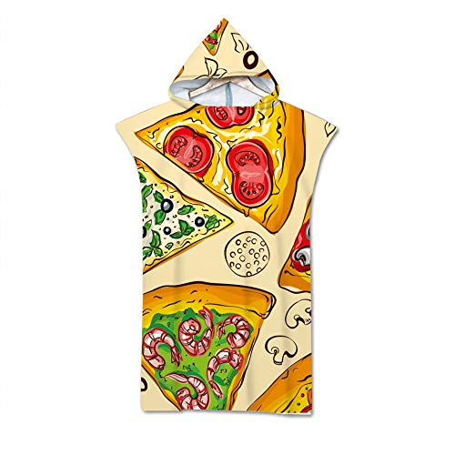CJMDEH Strand Poncho Handtuch,Mikrofaser Kapuze Badetuch Umhang Für Erwachsene Männer Frauen Bademantel Cartoon Kreative Lebensmittel Pizza Gedruckte Schwimmen Strandtücher Surf Poncho