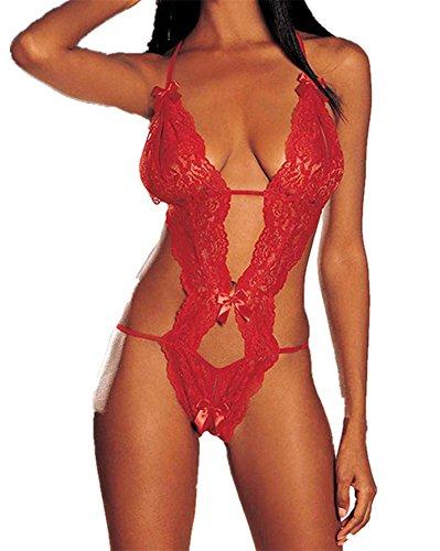 Lieberpaar Ous-Vetements Ouvrir Crotch Temptations Lingerie Sexy Robe En Dentelle Net Yarn Perspective Avec Wear g-String Temptation Nuptiale Rouge