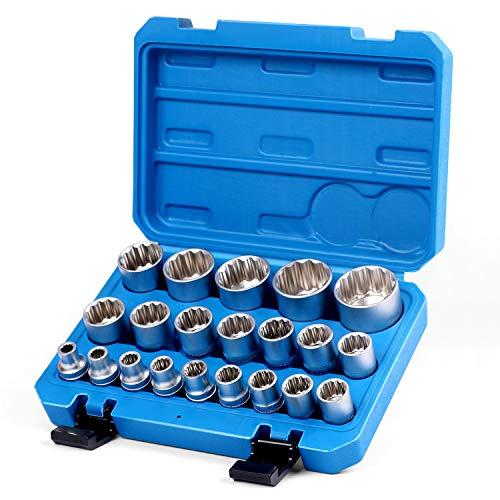 SEDY 21-Piece 1/2-Inch Drive Impact Socket Set, 12-Point, Metric 8mm-36mm, Heavy Duty Storage Case