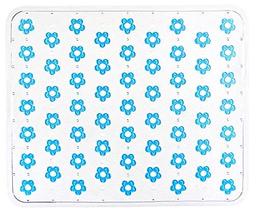 WENKO 2004020100 Spülbeckeneinlage Fleurelle Türkis, Blütenmuster, Kunststoff, 26.5 x 32 cm, Türkis