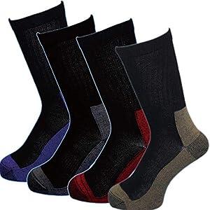 (SI763) 靴下 メンズ 吸湿シルクで蒸れずに快適!破れにくく安全靴に最適ソックス 強い綿!ムレない裏シルク 厚底2重 軍足 先丸 4足組 25~27cm