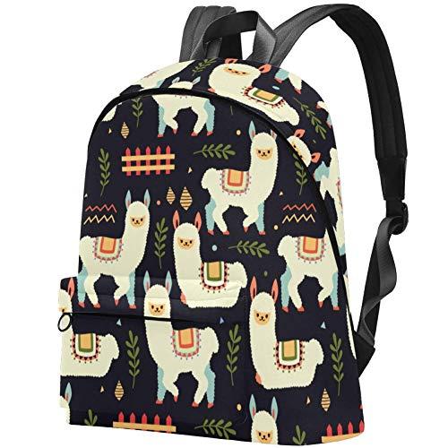 Alpaka und Zaun Muster College Student Büchertasche Rucksack Reise Tagesrucksack Tasche