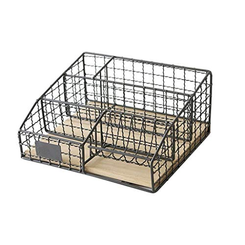 XHI smeedijzeren rooster aktehouder, kantoorfinishing informatie Basket magazijn display standaard study room map opslag rek -26 cm × 20 cm × 12,5 cm AA + grijs