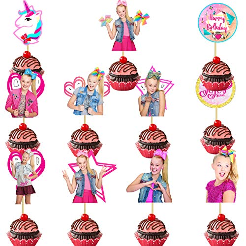 22 Pack Jojo Siwa Cake Topper,Jojo Cupcake toppers Birthday Party Decoration for Kids