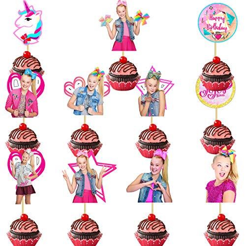 22 Pack Jojo Siwa Cake Topper,Jojo Cupcake toppers Birthday Party Decoration for Kids