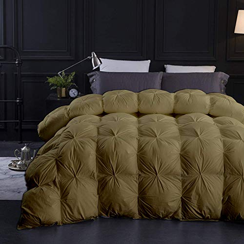 Quan Toupe All Season Goose Down Pintuck Comforter- Oversized King Size 116 x 98 Inches 1 pc Pinch Pleated Comforter 600 GSM & 4 - Corner Tabs 100% Egyptian Cotton- Toupe Solid