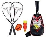 Talbot-Torro Speed-Badminton Set Speed 7000, hochwertiges Komplettset, 2 kraftvolle Graphit-Composite Rackets 58,5cm, 6 windstabile Federbälle, Court-Liniensystem, im trendigen Rucksack, 490107