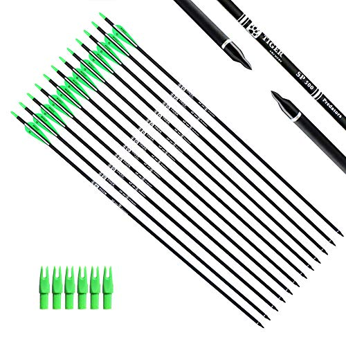 Tiger Archery 30Inch Carbon Arrow Practice Hunting Arrows with Removable Tips for Compound & Recurve Bow(Pack of 12) (Green White)