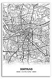 Zulumaps Poster 40x60cm Stadtplan Dortmund - Hochwertiger