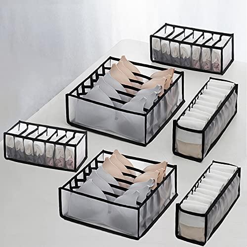 Xnuoyo Armadio Cassetto Divisore Set di Stoccaggio, Pieghevole Biancheria Intima Organizer Set Cassetto Organizzatore, Ripostiglio Armadio per Reggiseno Calze Cravatte Sciarpe-Nero,6 Pezzi