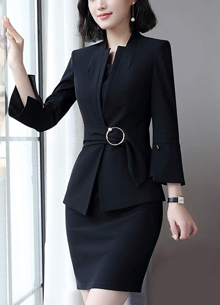 Women/'s 2 Piece Business Work Suit Set Blazer Pants for Lady Suit with Waistband 3//4 Flare Sleeve Blazer Pantsuits