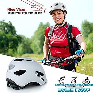 BASE CAMP Bike Helmet, Bicycle Helmet with Light for Adult Men Women Commuter Urban Scooter Adjustable M Size