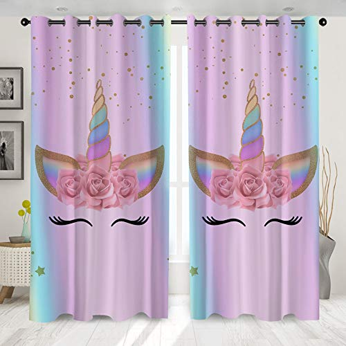 YOURALL Unicorn Living Room Curtains Cartoon Print Curtain for Kids Bedroom Girls Floral Rainbow Window Treatment Drapes 2 Panel Set (W132 x L137cm,#02)