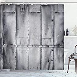 Ambesonne Industrial Shower Curtain, Wall Design with Cracks Weathered Futuristic Arrangement Monochrome Print, Cloth Fabric Bathroom Decor Set with Hooks, 70 Long, Silver