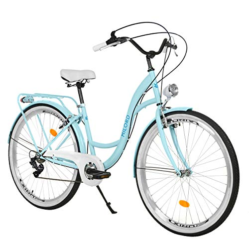 Milord Bikes Bicicleta de Confort, Azul Claro, de 7 Velocidad y 26 Pulgadas con Soporte Trasero, Bicicleta Holandesa, Bicicleta para Mujer, Bicicleta Urbana, Retro, Vintage