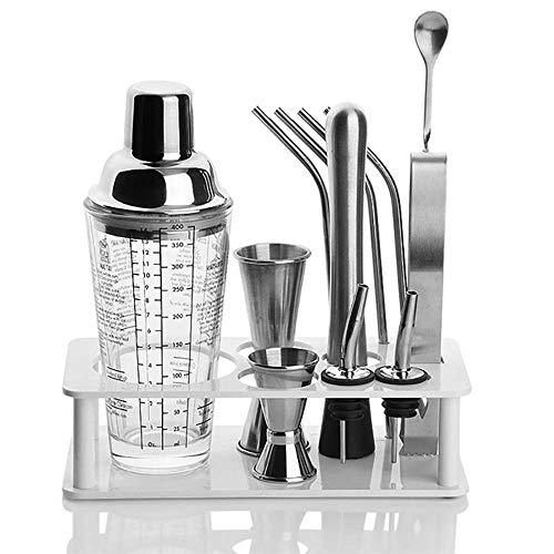 SILOLA Cocktailherstellungsset, 13-teiliges Cocktail-Shaker-Set Glas Cocktailglas, Barlöffel, Eisclip, Punch Ice Hammer, Weinmund, Messbecher, Stroh-Heimwerker-Kit