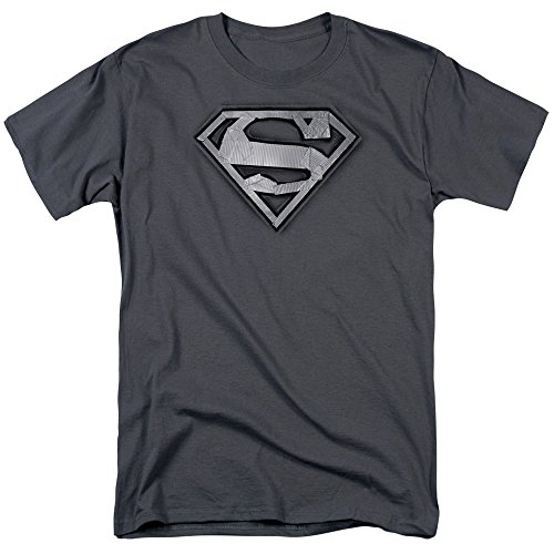 Superman Duct Tape Shield Unisex Adult T Shirt for Men and Women, 4X-Large Charcoal