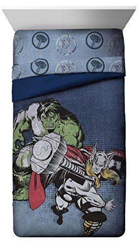 Jay Franco Mighty Twin Reversible Comforter, Thor Hulk Blue