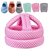 Baby Safety Helmet, Infant Baby Head Protector with 3 Pairs Baby Knee Pads for Crawling & 3 Pairs Baby Socks, Head Cushion Bumper Bonnet, Soft Headguard for Toddler Learning to Walk, Pink Dots