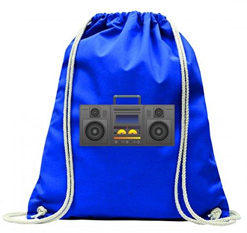 "Turnbeutel \""BOOMBOX- GHETTO BLASTER- AUDIO PLAYER- CD SPIELER- MUSIK PLAYER- RADIO- BLÄSER- STEREO- GHETTO- MUSIK- BOX- RETRO\"" mit Kordel - 100{9db71dbde3a8a8a295dff4ba41e53f570ef5b5858ad79df393de659c90095cbd} Baumwolle- Gymbag- Rucksack- Sportbeutel"